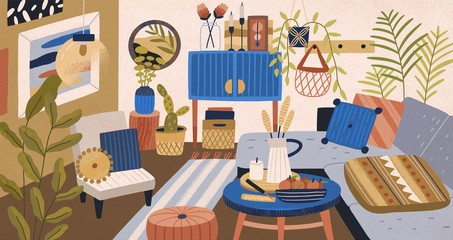 Modern domestic interior of living room vector graphic illustration. Comfortable couch with pillow, armchair, coffee table and houseplant. Cosiness cartoon apartment design