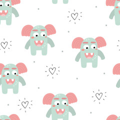 Funny monsters. Lovely seamless pattern for children designs. Sweet smiling creatures in bright colors in vector. Awesome childish background