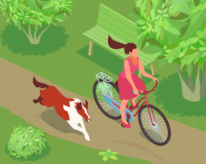 Woman And Dog Illustration