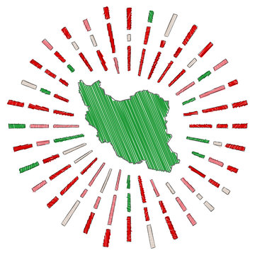 Sketch map of Iran. Sunburst around the country in flag colors. Hand drawn Iran shape with sun rays on white background. Vector illustration.