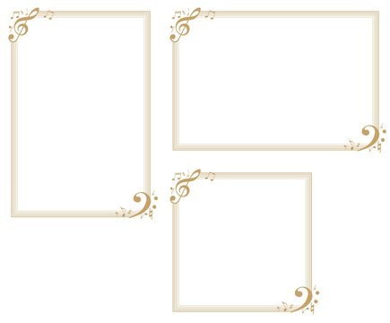 Music-themed decorative frame.Decorative frame.A frame that gave a change in size to the same design.Good frame for a4 size paper.Background for certificate.