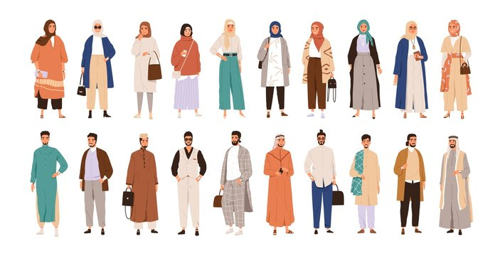 Set of arabic man and woman in hijab vector flat illustration. Collection of stylish muslim business person, male and female in trendy clothes isolated on white. Saudi people in traditional outfit