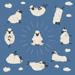 Sheep yoga poses collection. Farm animals set. Flat design