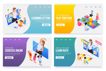 Kindergarten Online Isometric Banners