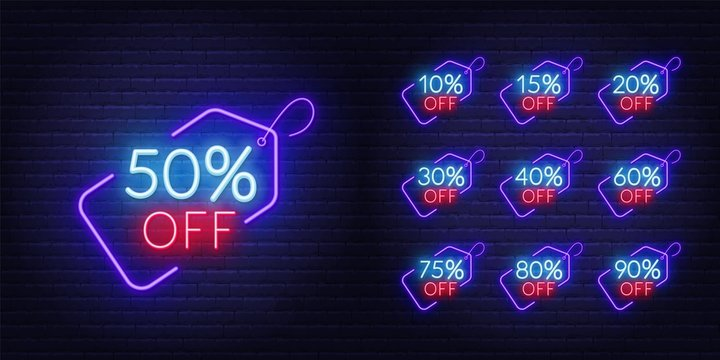 10, 15, 20, 30,40 50, 60, 75 80, 90 percent off. Neon discount light signs on a dark background