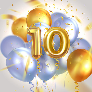 Anniversary, 10 years old, helium balloons numbers with confetti, vector illustration