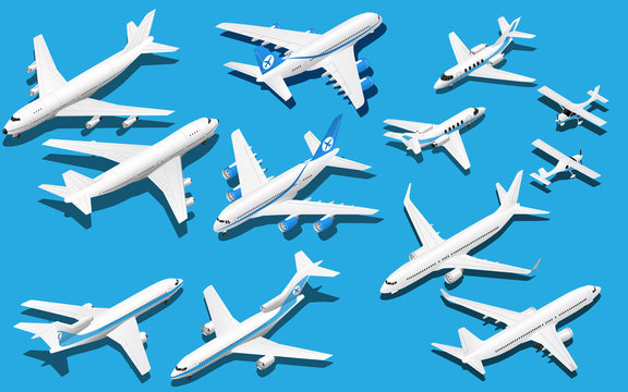 Isometric six airplane set. Jet clipart
