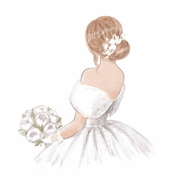 Beautiful bride with a bouquet of peonies. Hand drawn illustration in classic vintage style