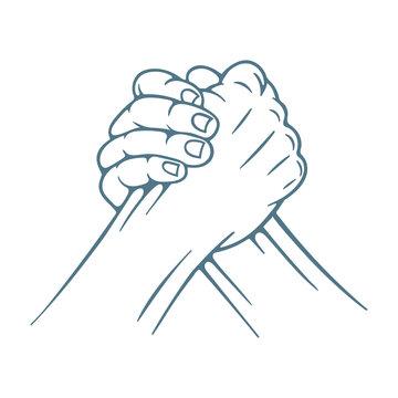Arm wrestling. Arm wrestling hand drawn vector illustration. Part of set.