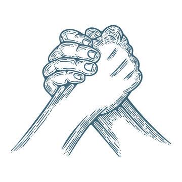 Arm wrestling. Arm wrestling engraving style vector illustration. Part of set.