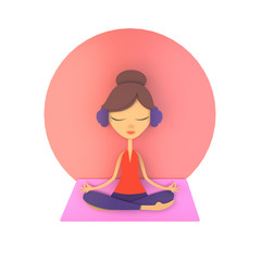 Young female meditating in lotus pose at home. Mental well-being