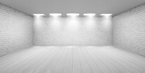 Empty room with white brick walls in studio