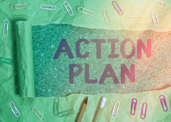 Handwriting text writing Action Plan. Conceptual photo detailed plan outlining actions needed to reach goals or vision