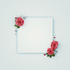 Flowers composition. Paper blank, pink flowers on pastel pink background. Flat lay, top view, copy space, square. 3d rendering