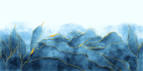 Watercolor background drawn by brush. Blue paints spilled on paper. Golden shiny veins and cracked marble texture. Elegant luxury wallpaper for design, print, invitations.