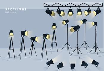 Fototapeta Spotlights flat transparent background for show contest or interview vector illustration eps 10