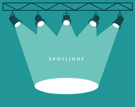 Spotlights flat empty scene. Illuminated design. Vector illustration.