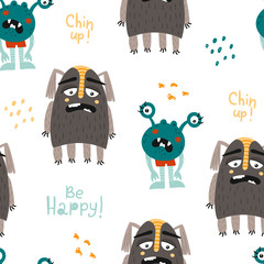 Childish seamless pattern with funny monsters.