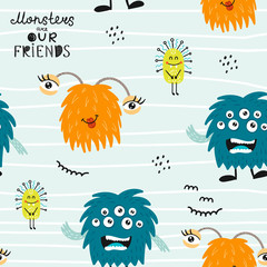 Childish seamless pattern with funny monsters. Perfect for kids apparel, textile, nursery decoration and wrapping paper