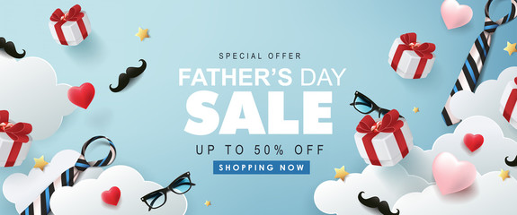 Fototapete - Happy Fathers Day Sale banner background.Promotion and shopping template.Vector illustration.