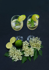 "Cocktail ""Hugo"" with elder flowers, copy space, vertical"