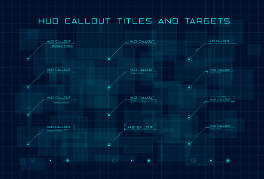 Set of blue callout titles and targets in HUD style on dark blue digital hi tech background. Editable stroke. Good for animation. Vector