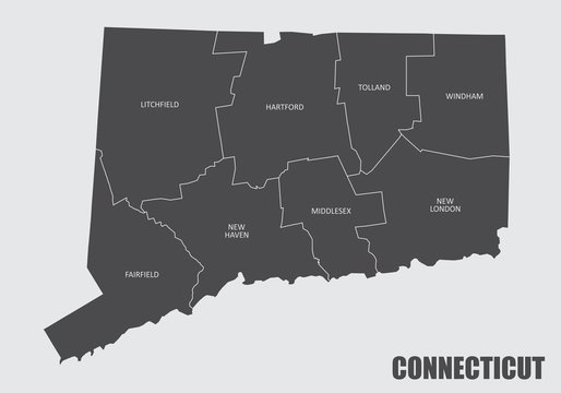 Connecticut State counties map