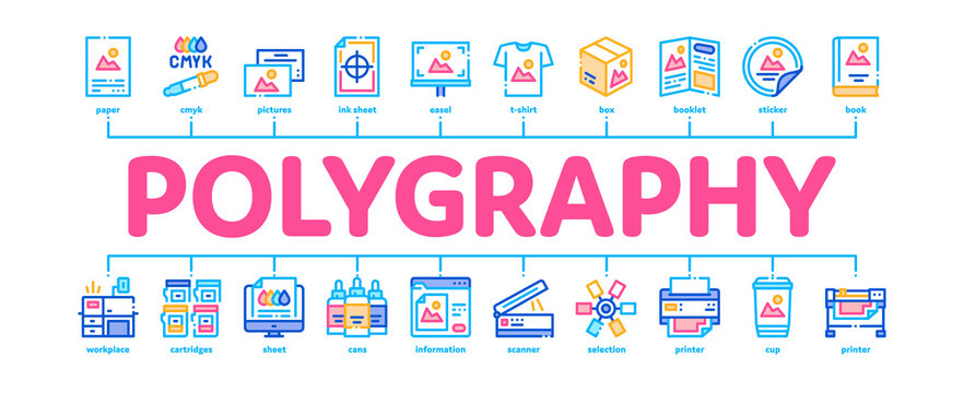 Polygraphy Printing Service Minimal Infographic Web Banner Vector. Polygraphy And Scanner Equipment And ink, Paper List With Picture And Cup Illustration