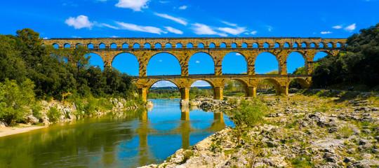 Foto op Canvas Bruggen pont du gard- french bridge touristic, gard