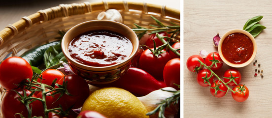 collage of delicious tomato sauce with fresh ripe vegetables in basket on wooden table