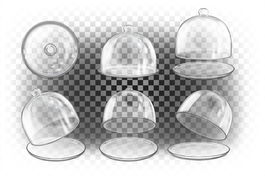 Set of different empty transparent glass vector 3d realistic domes of different views. Empty packaging, cover, container, dome, sphere. Blank template. Cloche for dishes.