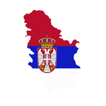Serbia map country of Europe, European flag illustration, vector isolated on white background