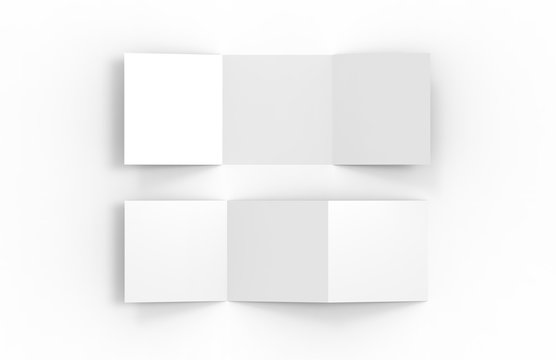 Blank white empty square tri fold catalogue, brochure flyer, changeable background for mock up and template design, 3d illustration
