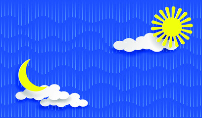 Rain, sun, moon and clouds on the blue sky. Layered Paper art style. EPS10