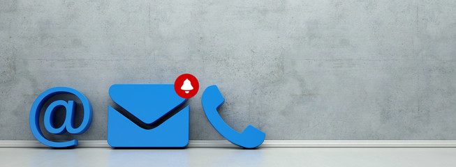 Email Support Kommunikation mit blauen Kontakt Icons