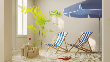 Sand vom Strand mit Liegestuhl zu Hause als Urlaub Konzept