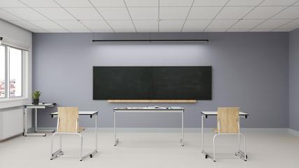 Abstand im Klassenzimmer vor Abitur Prüfung in Schule