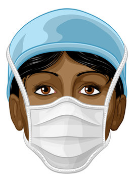 A doctor or nurse female woman face wearing protective face mask PPE personal protection equipment