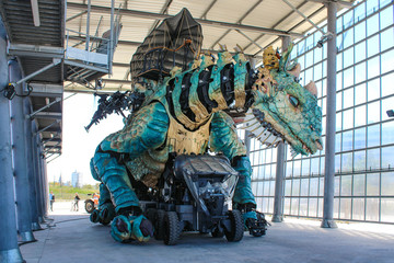 Calais, France - May. 26, 2020 : The Dragon of Calais of Compagnie du Dragon: economic, tourist and cultural development project initiated by the city of Calais in North of france