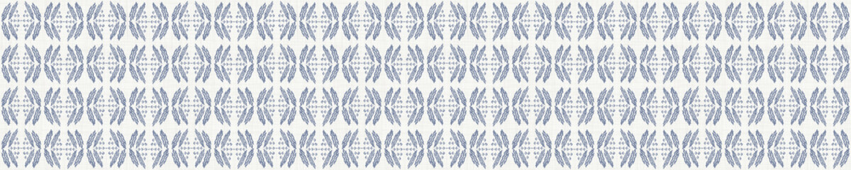 Seamless french farmhouse stripe border pattern. Provence blue linen shabby chic style. Hand drawn texture. Yellow blue banner background. Modern textile ribbon trim