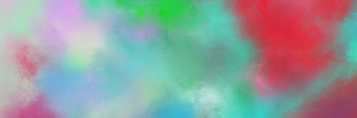 vintage painted art retro horizontal banner background  with dark sea green, medium aqua marine and moderate red color. can be used as header or banner Wall mural