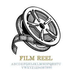 Film reel. Vintage style cinematographic emblem hand drawing. Film reel engraving style vector illustration. Film reel sketch drawing. Part of set.