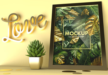 Gold Love Frame and a Succulent Cactus Mockup