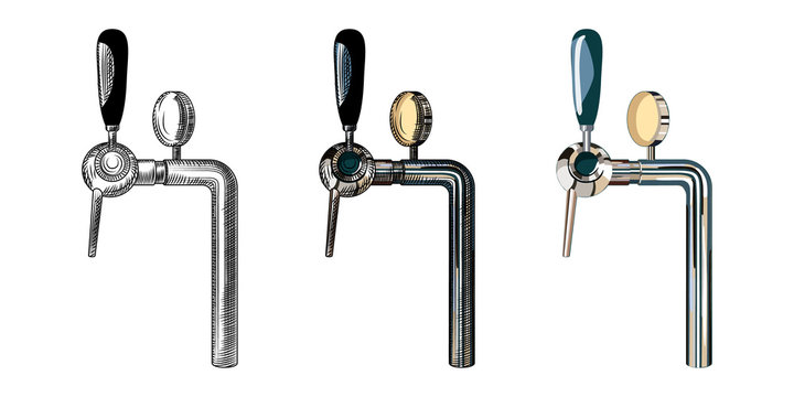 Beer tap isolated on white background. Hand drawn beer tap. Vintage engraved style.