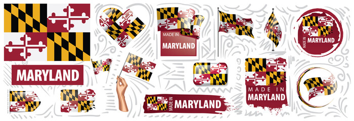 Vector set of flags of the American state of Maryland in different designs
