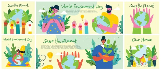 Big set of world environment day posters with people holding earth globe. Protect environment green eco concept. Green and peaceful illustration in modern flat style.