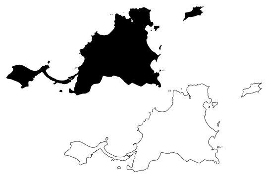 Saint Martin island (France, French Republic, Overseas collectivity) map vector illustration, scribble sketch Collectivity of Saint Martin map