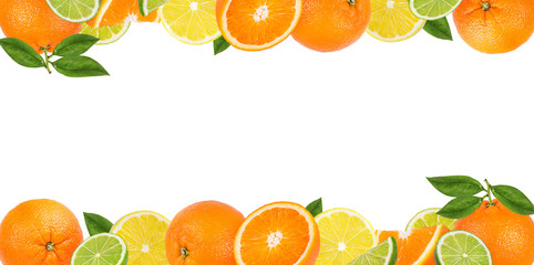 Wall Mural - Fruits frame,citrus frame, background space for text.Summer card