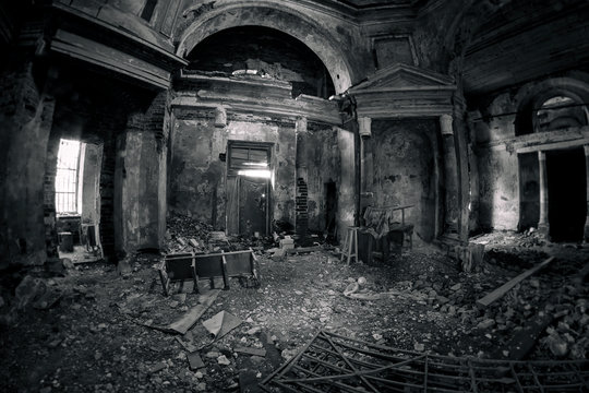 Beautiful, scary and mystical interior of an abandoned church