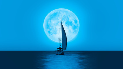Wall Mural - Lone yacht with super blue full moon